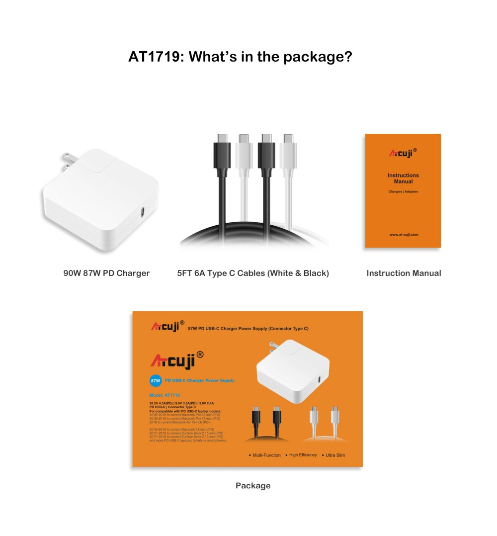 ATcuji 87W PD USB-C Charger Adapter for New Macbook Pro 15-inch Type