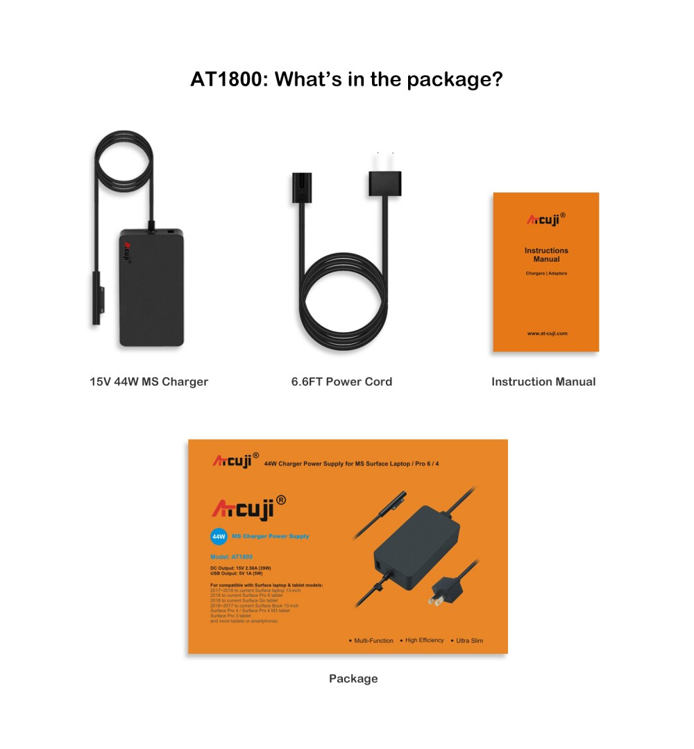 ATcuji 44W 15V Charger Adapter for Surface Pro 6 5 4 3 Laptop Go